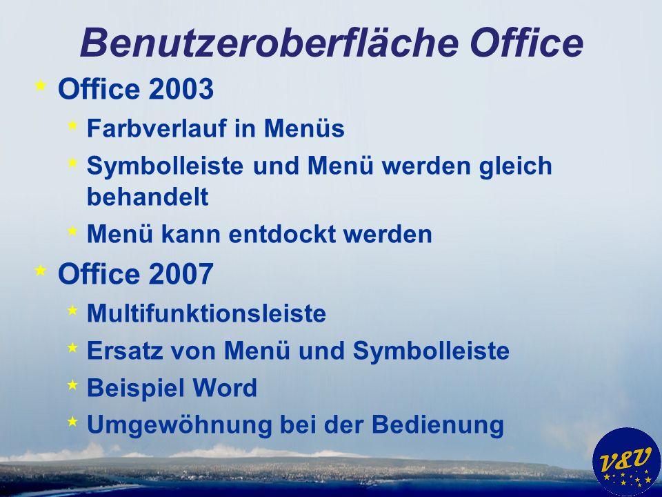 Benutzeroberfläche Office * Office 2003 * Farbverlauf in Menüs * Symbolleiste und Menü werden gleich behandelt * Menü kann entdockt werden * Office 2007 * Multifunktionsleiste * Ersatz von Menü und Symbolleiste * Beispiel Word * Umgewöhnung bei der Bedienung