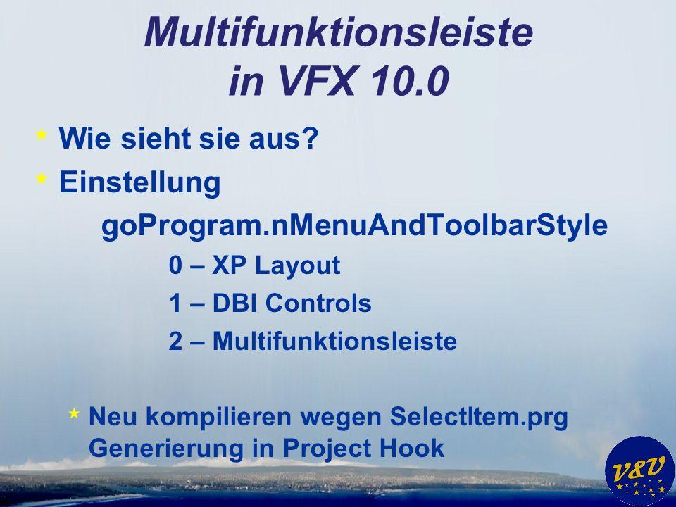 Multifunktionsleiste in VFX 10.0 * Wie sieht sie aus.