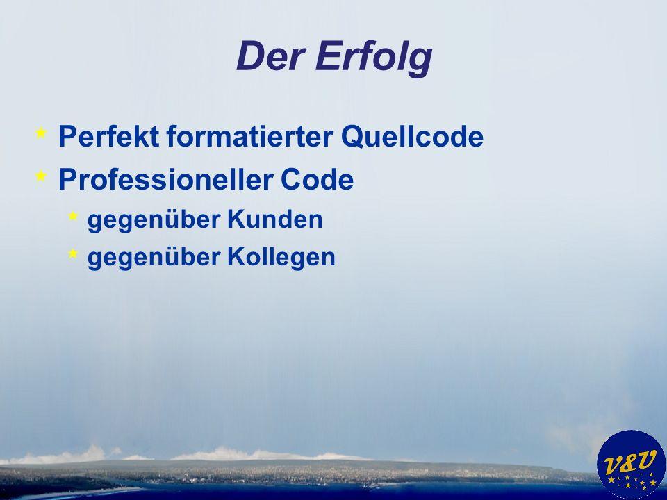 Der Erfolg * Perfekt formatierter Quellcode * Professioneller Code * gegenüber Kunden * gegenüber Kollegen