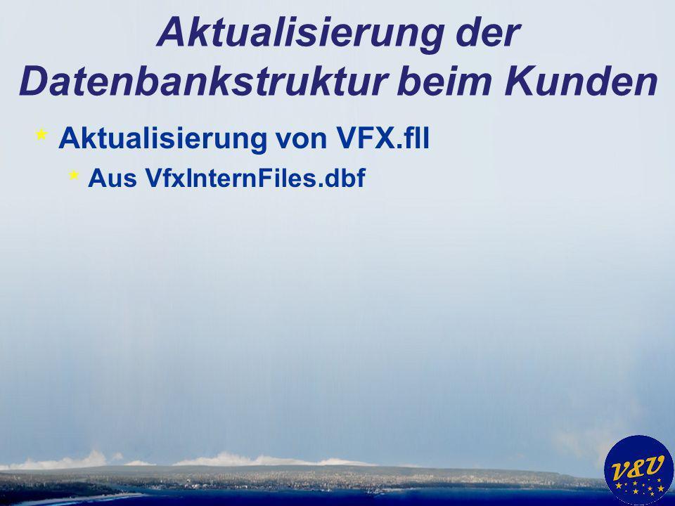Aktualisierung der Datenbankstruktur beim Kunden * Aktualisierung von VFX.fll * Aus VfxInternFiles.dbf