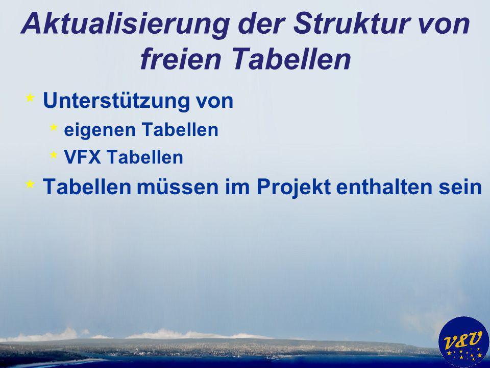 Aktualisierung der Struktur von freien Tabellen * Unterstützung von * eigenen Tabellen * VFX Tabellen * Tabellen müssen im Projekt enthalten sein