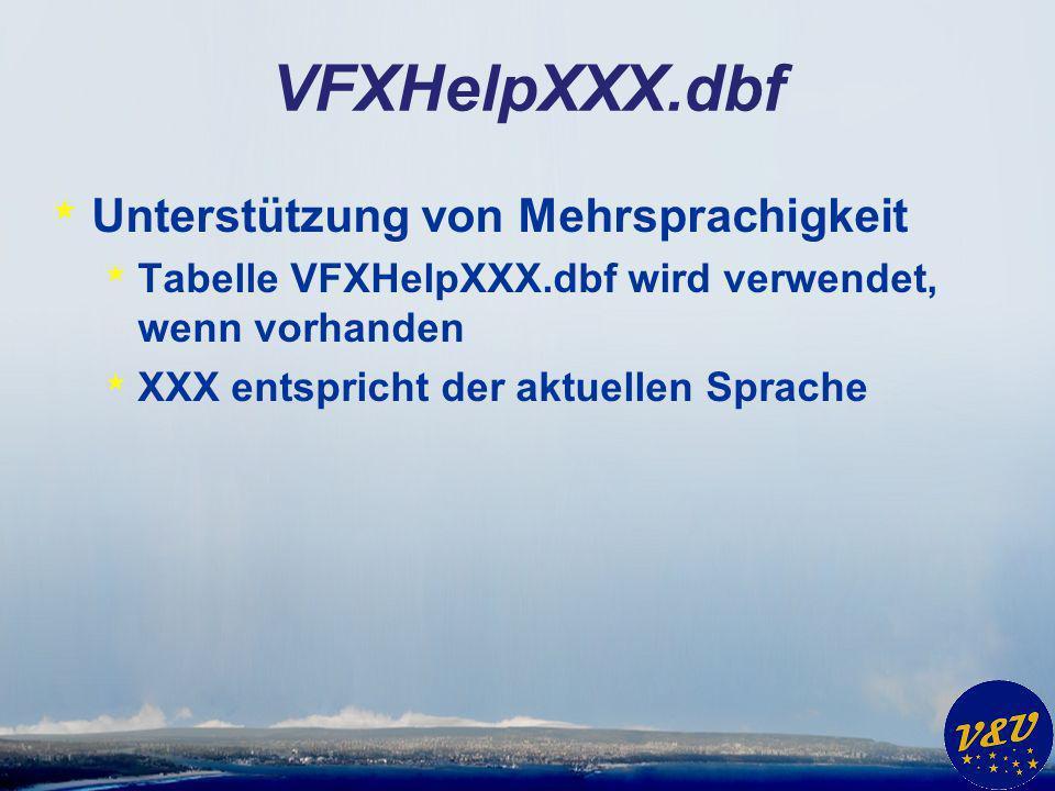 VFXHelpXXX.dbf * Unterstützung von Mehrsprachigkeit * Tabelle VFXHelpXXX.dbf wird verwendet, wenn vorhanden * XXX entspricht der aktuellen Sprache