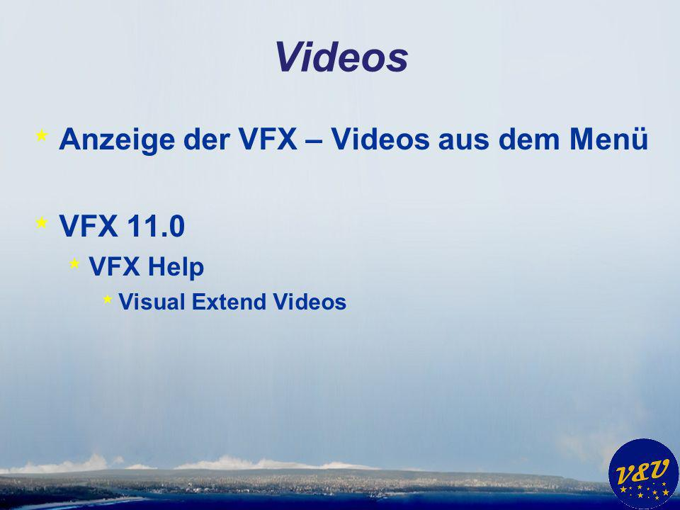 Videos * Anzeige der VFX – Videos aus dem Menü * VFX 11.0 * VFX Help * Visual Extend Videos