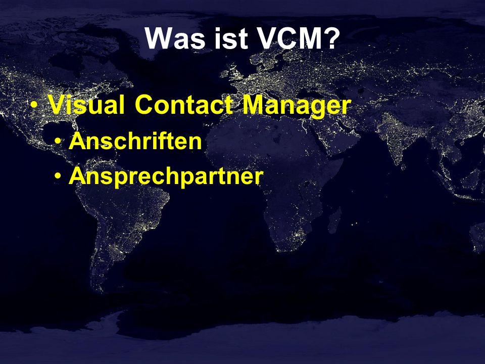 Was ist VCM Visual Contact Manager Anschriften Ansprechpartner