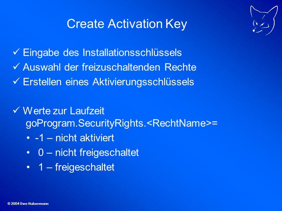 © 2004 Uwe Habermann Create Activation Key Eingabe des Installationsschlüssels Auswahl der freizuschaltenden Rechte Erstellen eines Aktivierungsschlüssels Werte zur Laufzeit goProgram.SecurityRights.