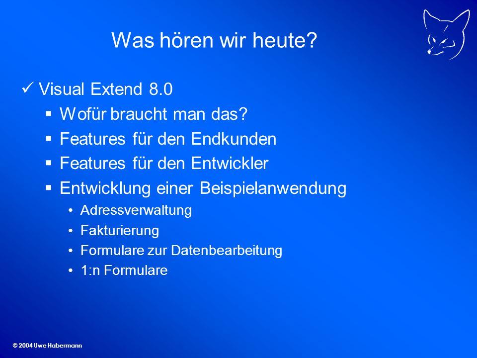 © 2004 Uwe Habermann Was hören wir heute. Visual Extend 8.0 Wofür braucht man das.