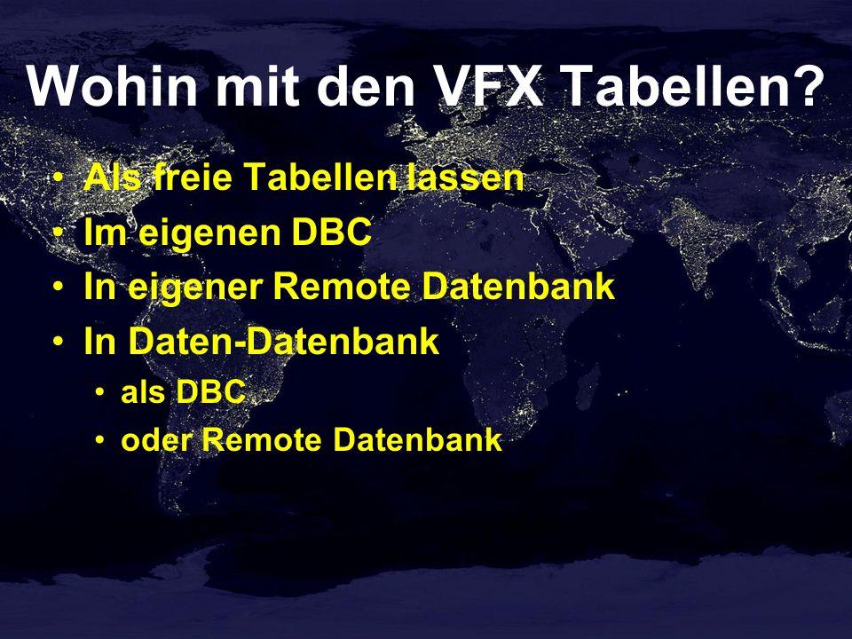 Wohin mit den VFX Tabellen.