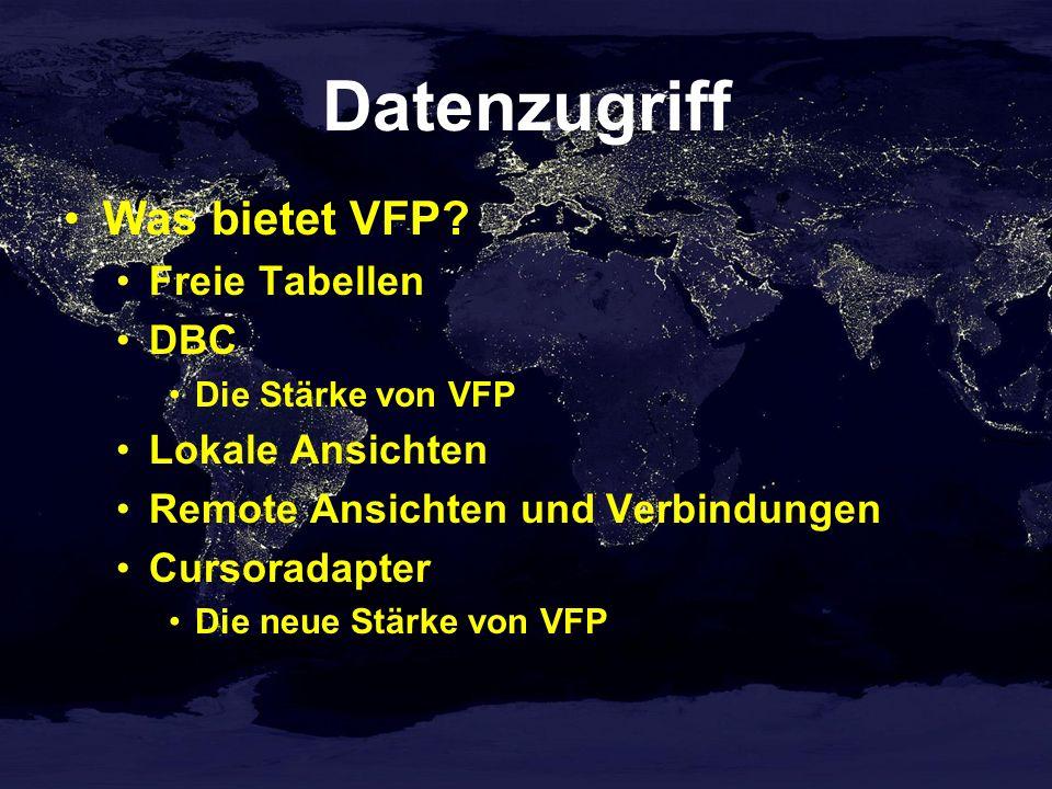 CursorAdapter in VFX CursorAdapter-Klasse verwendet ConnectionManager ConnectionManager liest Datenbankinformationen aus Konfigurationsdatei (Config.vfx) CursorAdapter-Funktionalität in einer Klasse gespeichert Holen von ID-Werten Wartbarkeit
