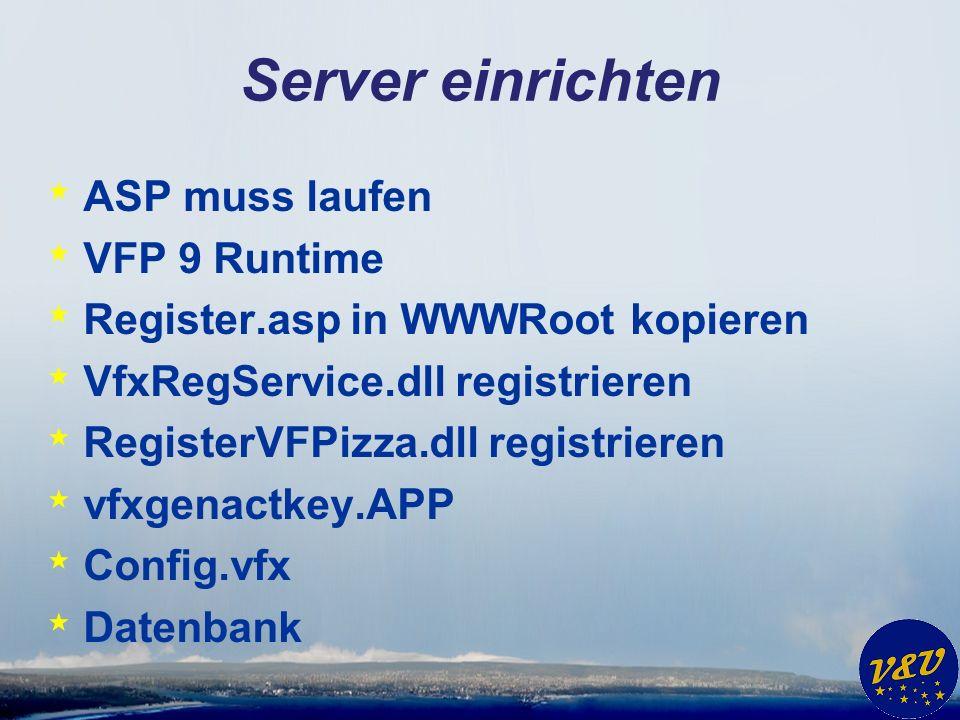 Server einrichten * ASP muss laufen * VFP 9 Runtime * Register.asp in WWWRoot kopieren * VfxRegService.dll registrieren * RegisterVFPizza.dll registri