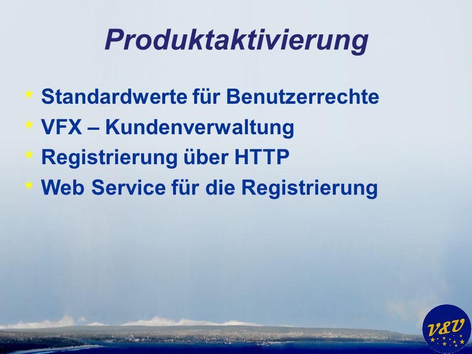Produktaktivierung * Standardwerte für Benutzerrechte * VFX – Kundenverwaltung * Registrierung über HTTP * Web Service für die Registrierung