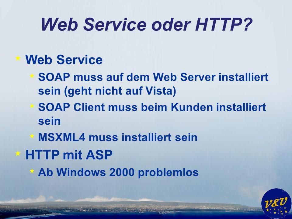 Web Service oder HTTP? * Web Service * SOAP muss auf dem Web Server installiert sein (geht nicht auf Vista) * SOAP Client muss beim Kunden installiert