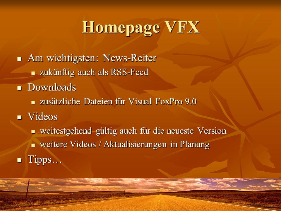Weitere Links Registrierung: http://register.visualextend.de Registrierung: http://register.visualextend.dehttp://register.visualextend.de für bestehende Anwender aus dem VFX-Menü von VFP für bestehende Anwender aus dem VFX-Menü von VFP Lizenzbedingungen: http://policy.visualextend.com Lizenzbedingungen: http://policy.visualextend.comhttp://policy.visualextend.com Active FoxPro: http://www.activeextend.de Active FoxPro: http://www.activeextend.dehttp://www.activeextend.de leider immer noch keine Weiterentwicklung von Peter Herzog leider immer noch keine Weiterentwicklung von Peter Herzog Onlineshop: http://shop.dfpug.de Onlineshop: http://shop.dfpug.dehttp://shop.dfpug.de Intl.