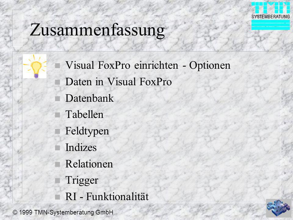 © 1999 TMN-Systemberatung GmbH Zusammenfassung n Visual FoxPro einrichten - Optionen n Daten in Visual FoxPro n Datenbank n Tabellen n Feldtypen n Indizes n Relationen n Trigger n RI - Funktionalität