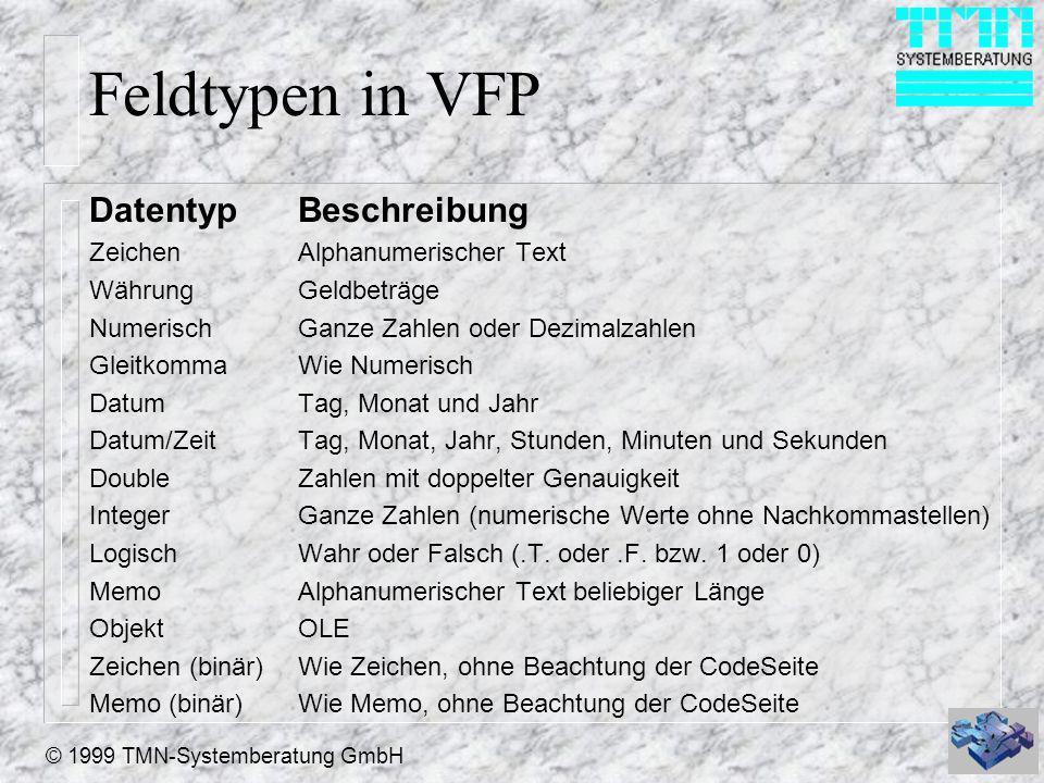 © 1999 TMN-Systemberatung GmbH Feldtypen in VFP Datentyp Beschreibung Zeichen Alphanumerischer Text WährungGeldbeträge NumerischGanze Zahlen oder Dezi