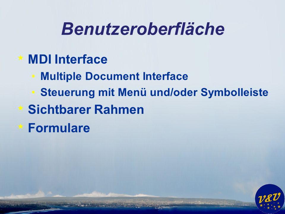 Benutzeroberfläche * MDI Interface Multiple Document Interface Steuerung mit Menü und/oder Symbolleiste * Sichtbarer Rahmen * Formulare
