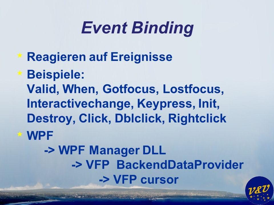 Event Binding * Reagieren auf Ereignisse * Beispiele: Valid, When, Gotfocus, Lostfocus, Interactivechange, Keypress, Init, Destroy, Click, Dblclick, R