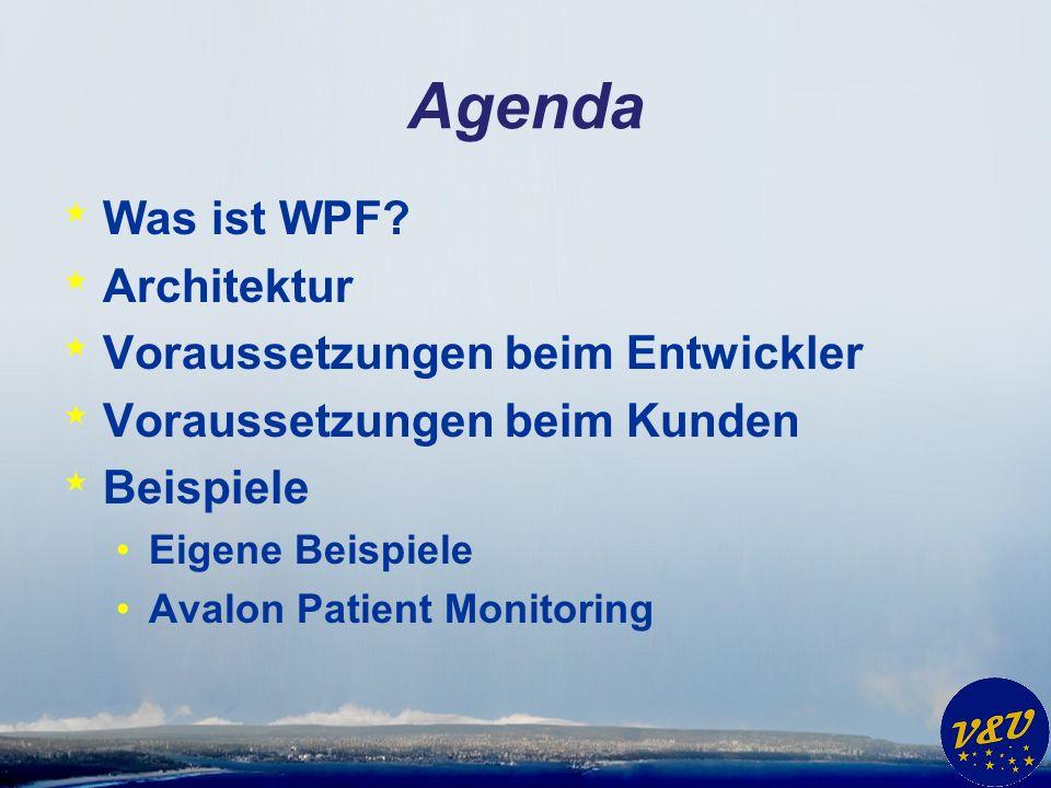 Agenda * Was ist WPF? * Architektur * Voraussetzungen beim Entwickler * Voraussetzungen beim Kunden * Beispiele Eigene Beispiele Avalon Patient Monito