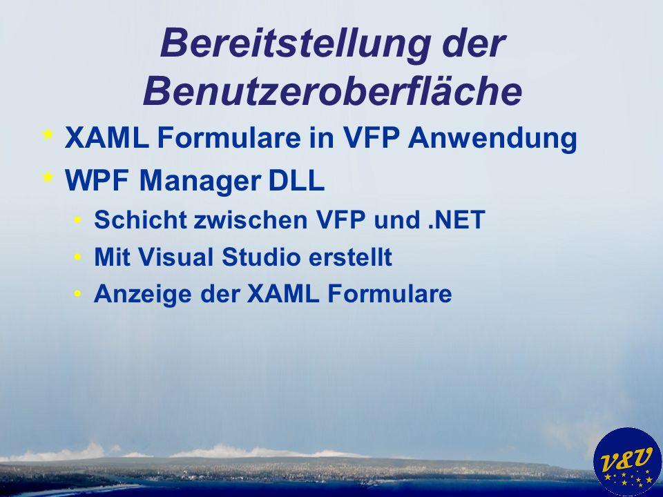 Bereitstellung der Benutzeroberfläche * XAML Formulare in VFP Anwendung * WPF Manager DLL Schicht zwischen VFP und.NET Mit Visual Studio erstellt Anze
