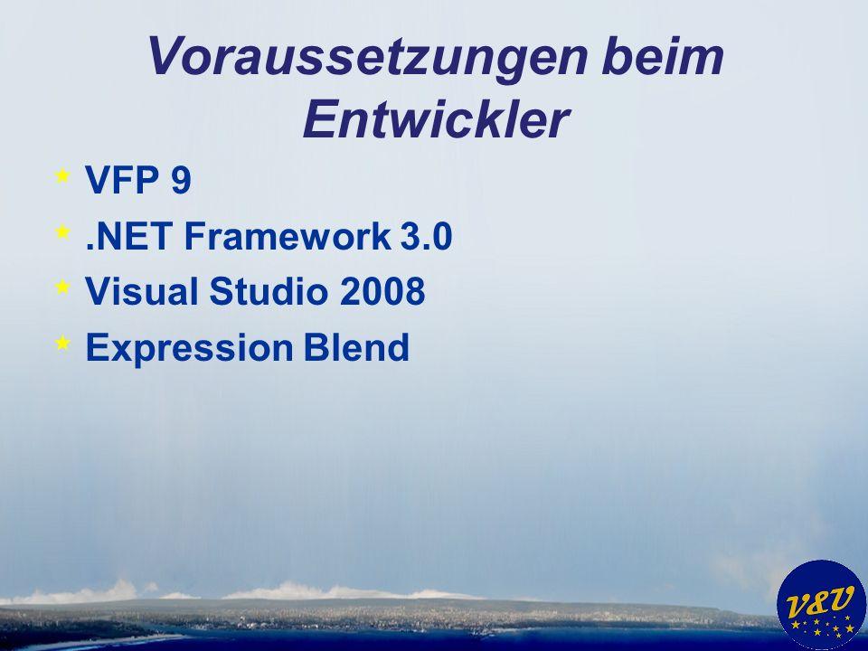 Voraussetzungen beim Entwickler * VFP 9 *.NET Framework 3.0 * Visual Studio 2008 * Expression Blend