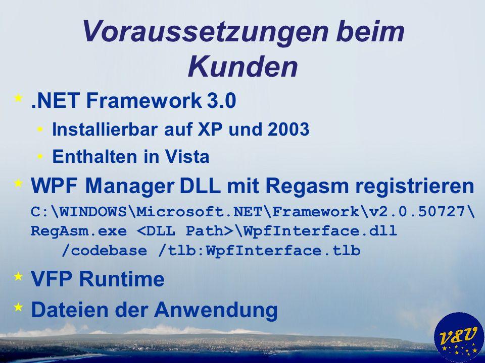 Voraussetzungen beim Kunden *.NET Framework 3.0 Installierbar auf XP und 2003 Enthalten in Vista * WPF Manager DLL mit Regasm registrieren C:\WINDOWS\