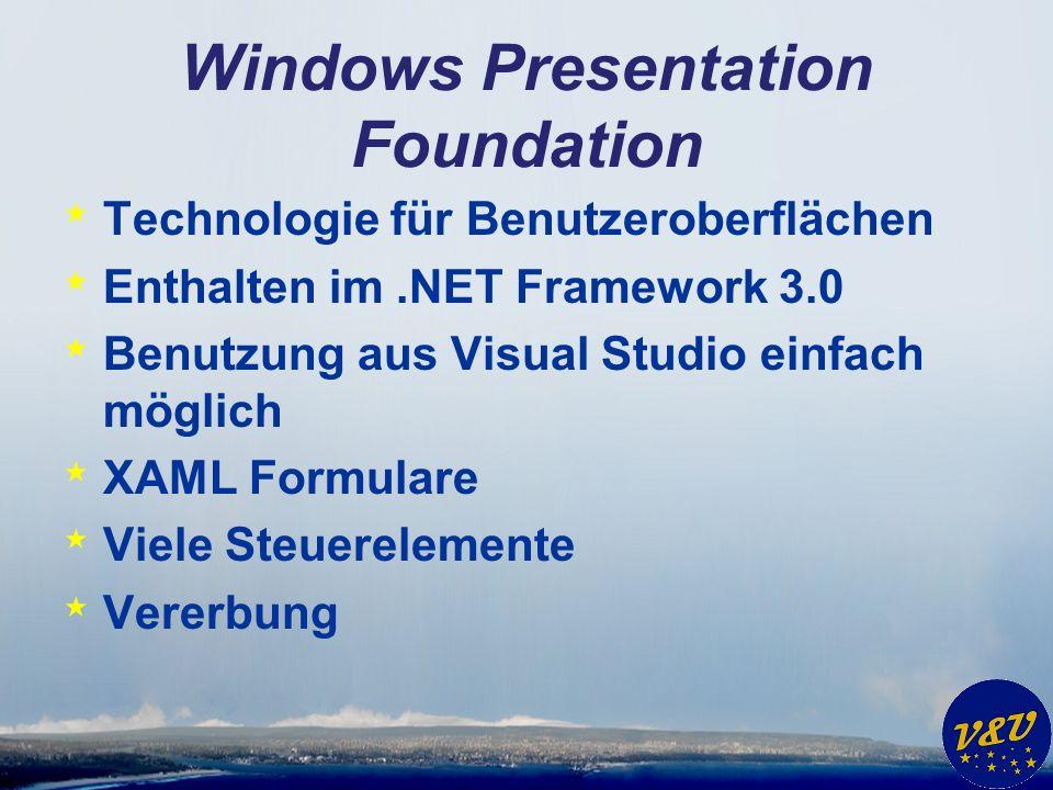 Windows Presentation Foundation * Technologie für Benutzeroberflächen * Enthalten im.NET Framework 3.0 * Benutzung aus Visual Studio einfach möglich *