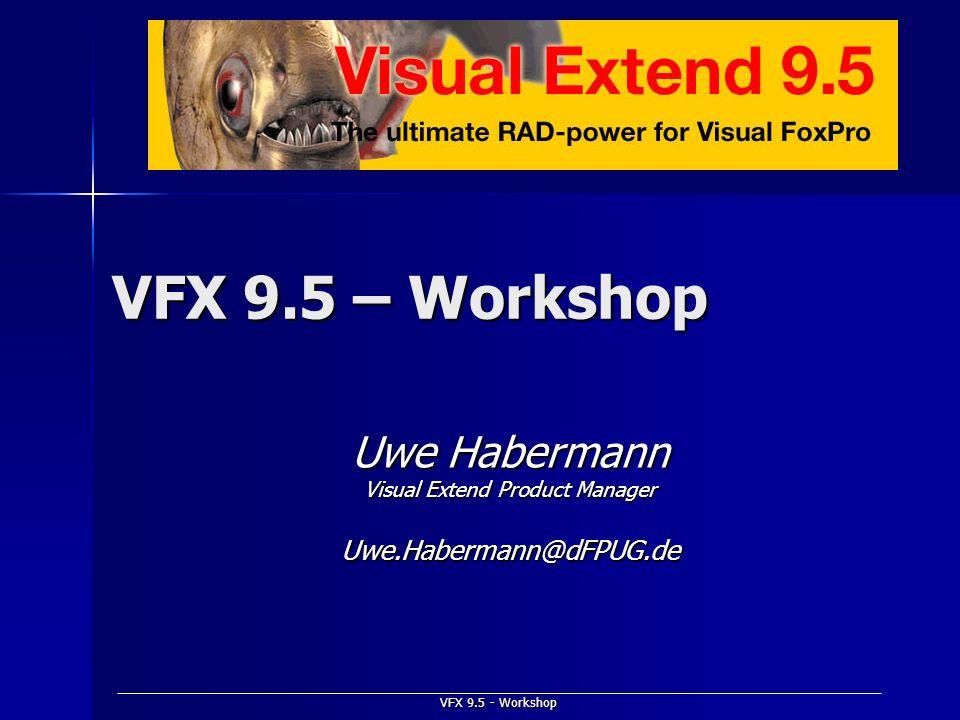 VFX 9.5 - Workshop VFX 9.5 – Workshop Uwe Habermann Visual Extend Product Manager Uwe.Habermann@dFPUG.de