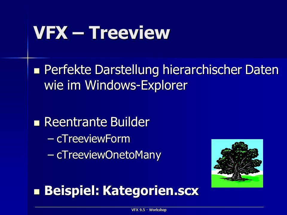 VFX 9.5 - Workshop VFX – Treeview Perfekte Darstellung hierarchischer Daten wie im Windows-Explorer Perfekte Darstellung hierarchischer Daten wie im W