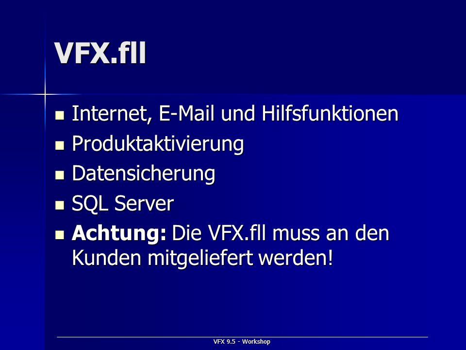 VFX 9.5 - Workshop VFX.fll Internet, E-Mail und Hilfsfunktionen Internet, E-Mail und Hilfsfunktionen Produktaktivierung Produktaktivierung Datensicher