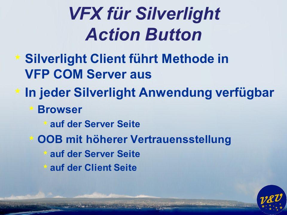 VFX für Silverlight Action Button * Silverlight Client führt Methode in VFP COM Server aus * In jeder Silverlight Anwendung verfügbar * Browser * auf der Server Seite * OOB mit höherer Vertrauensstellung * auf der Server Seite * auf der Client Seite