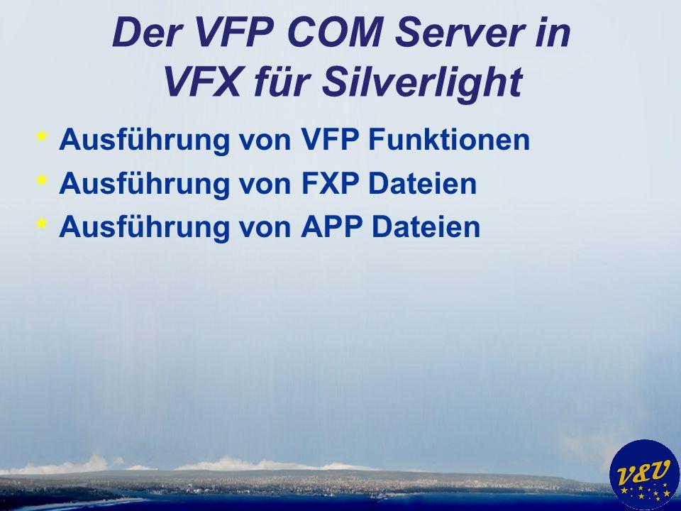 Der VFP COM Server in VFX für Silverlight * Ausführung von VFP Funktionen * Ausführung von FXP Dateien * Ausführung von APP Dateien
