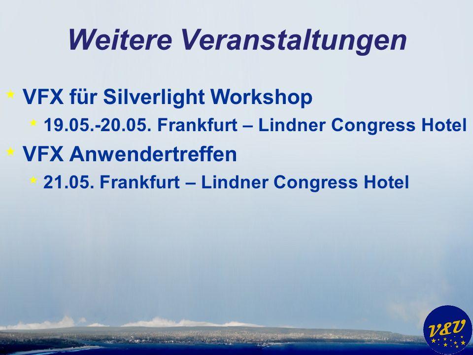 Weitere Veranstaltungen * VFX für Silverlight Workshop * 19.05.-20.05. Frankfurt – Lindner Congress Hotel * VFX Anwendertreffen * 21.05. Frankfurt – L