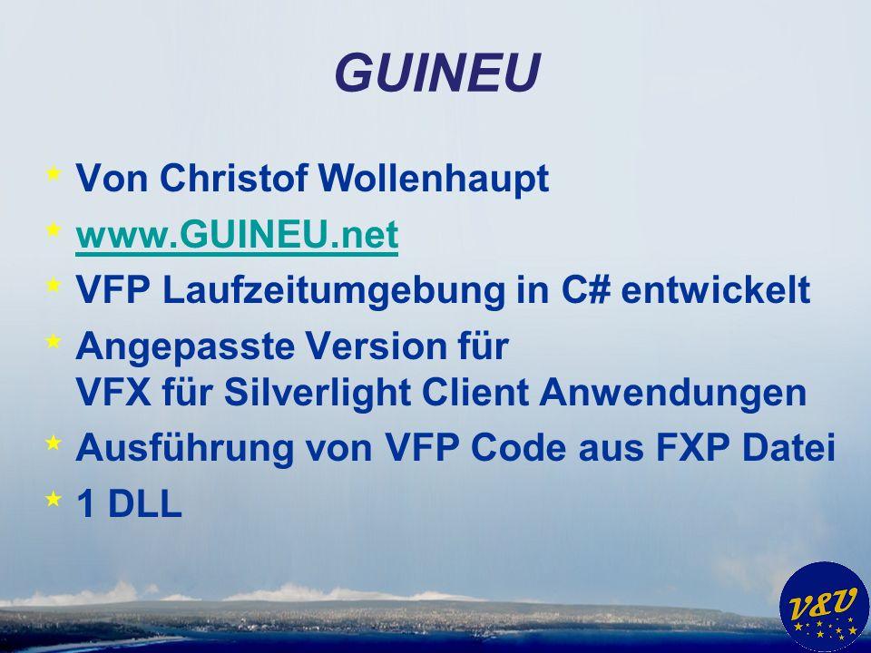 * Von Christof Wollenhaupt * www.GUINEU.net www.GUINEU.net * VFP Laufzeitumgebung in C# entwickelt * Angepasste Version für VFX für Silverlight Client Anwendungen * Ausführung von VFP Code aus FXP Datei * 1 DLL