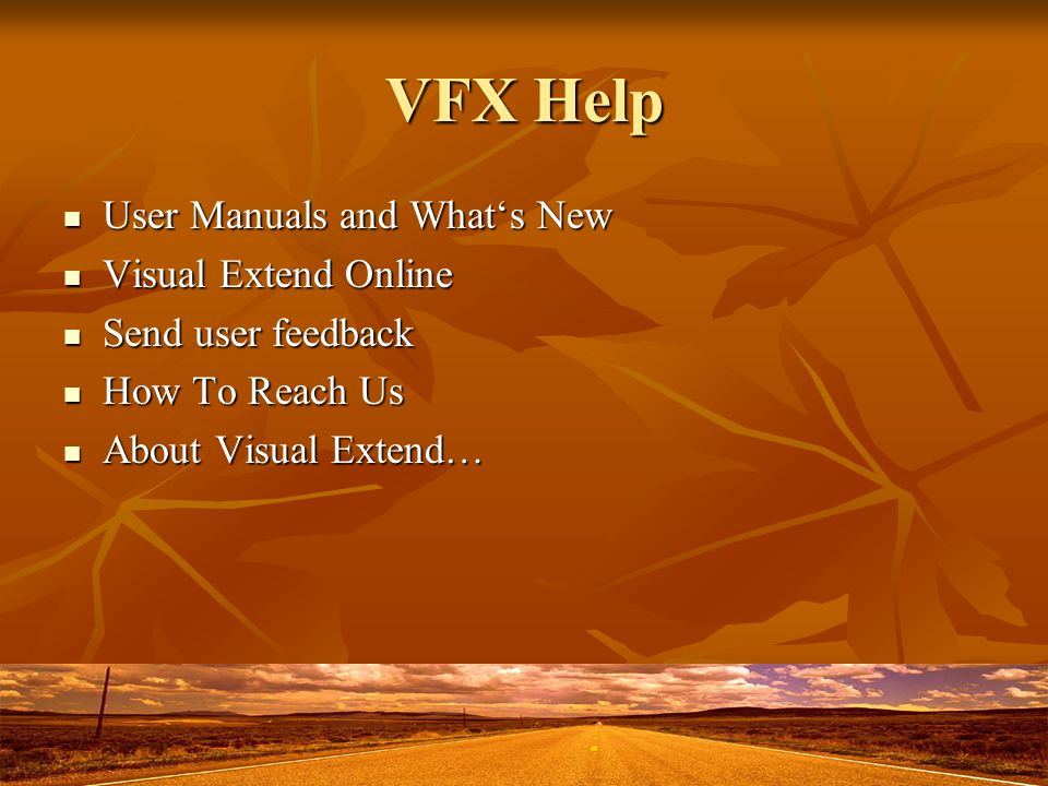 VFX Help User Manuals and Whats New User Manuals and Whats New Visual Extend Online Visual Extend Online Send user feedback Send user feedback How To