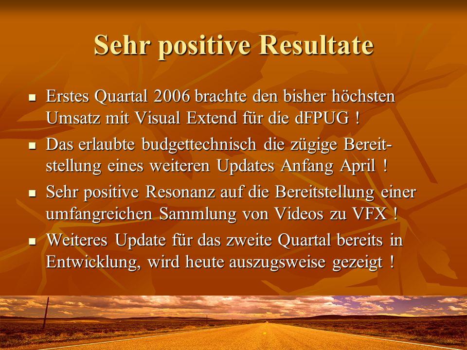 Sehr positive Resultate Erstes Quartal 2006 brachte den bisher höchsten Umsatz mit Visual Extend für die dFPUG ! Erstes Quartal 2006 brachte den bishe