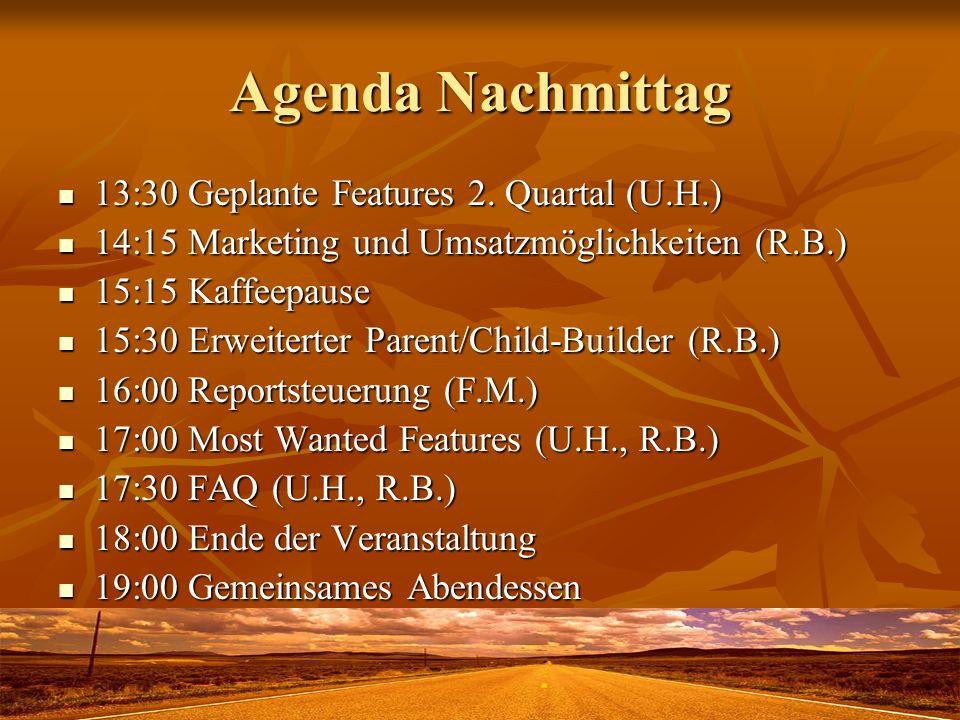 Agenda Nachmittag 13:30 Geplante Features 2. Quartal (U.H.) 13:30 Geplante Features 2. Quartal (U.H.) 14:15 Marketing und Umsatzmöglichkeiten (R.B.) 1