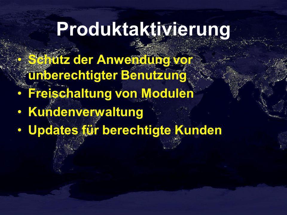 Produktaktivierung Schutz der Anwendung vor unberechtigter Benutzung Freischaltung von Modulen Kundenverwaltung Updates für berechtigte Kunden