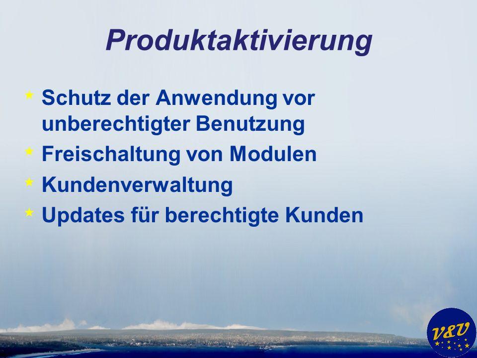 Produktaktivierung * Schutz der Anwendung vor unberechtigter Benutzung * Freischaltung von Modulen * Kundenverwaltung * Updates für berechtigte Kunden