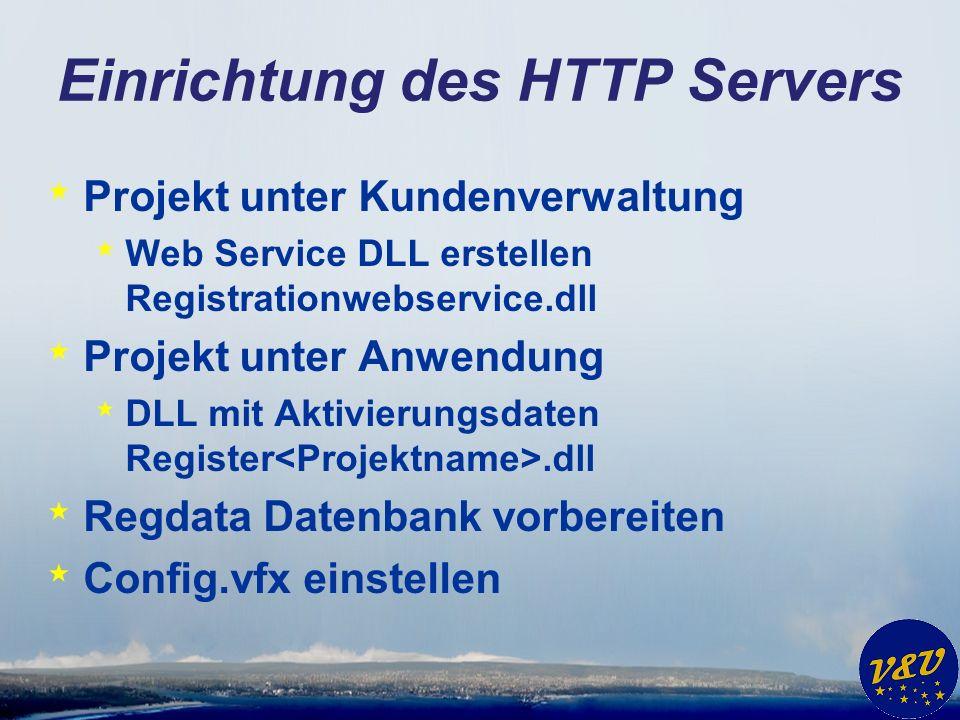 Einrichtung des HTTP Servers * Projekt unter Kundenverwaltung * Web Service DLL erstellen Registrationwebservice.dll * Projekt unter Anwendung * DLL m