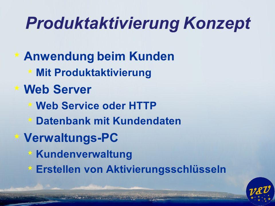 Produktaktivierung Konzept * Anwendung beim Kunden * Mit Produktaktivierung * Web Server * Web Service oder HTTP * Datenbank mit Kundendaten * Verwaltungs-PC * Kundenverwaltung * Erstellen von Aktivierungsschlüsseln