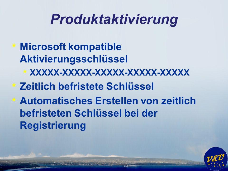 Produktaktivierung * Microsoft kompatible Aktivierungsschlüssel * XXXXX-XXXXX-XXXXX-XXXXX-XXXXX * Zeitlich befristete Schlüssel * Automatisches Erstellen von zeitlich befristeten Schlüssel bei der Registrierung