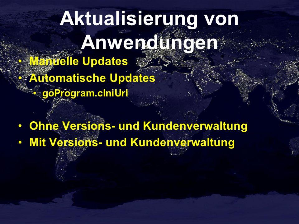 Aktualisierung von Anwendungen Manuelle Updates Automatische Updates goProgram.cIniUrl Ohne Versions- und Kundenverwaltung Mit Versions- und Kundenver