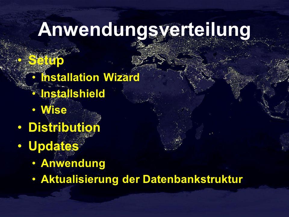 Anwendungsverteilung Setup Installation Wizard Installshield Wise Distribution Updates Anwendung Aktualisierung der Datenbankstruktur