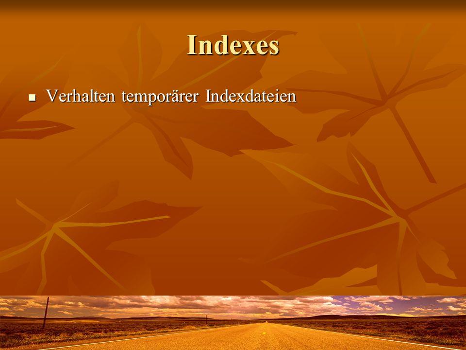 Indexes Verhalten temporärer Indexdateien Verhalten temporärer Indexdateien