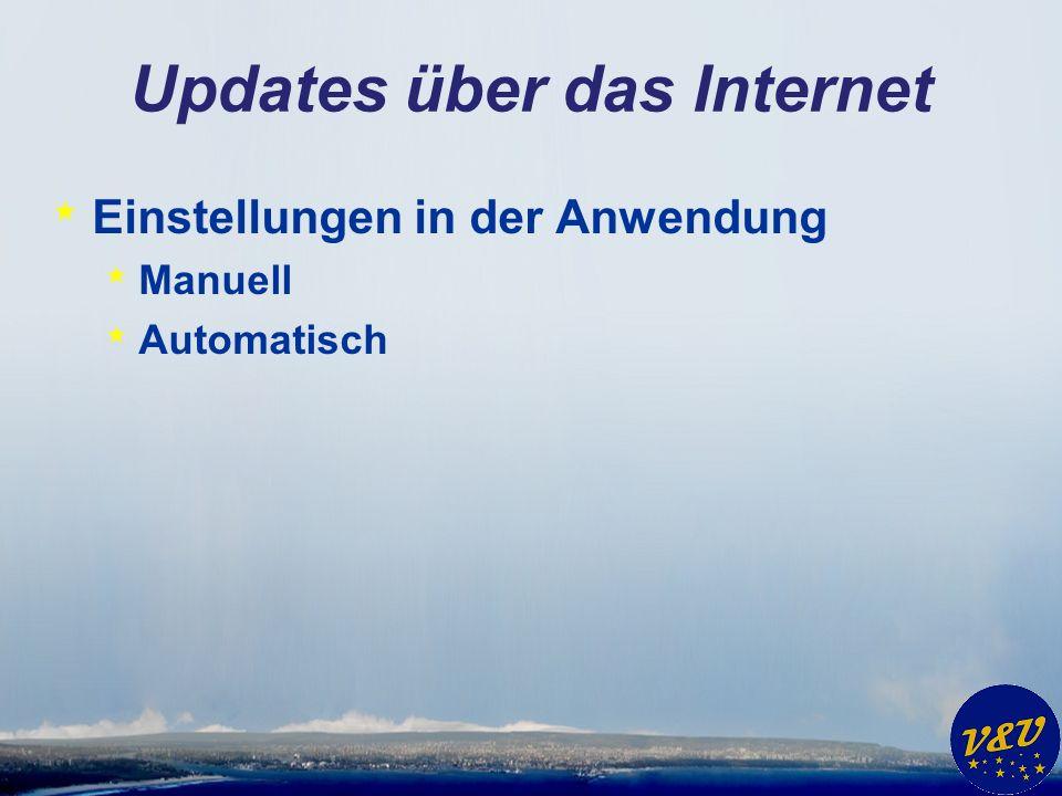 Updates über das Internet * Einstellungen in der Anwendung * Manuell * Automatisch