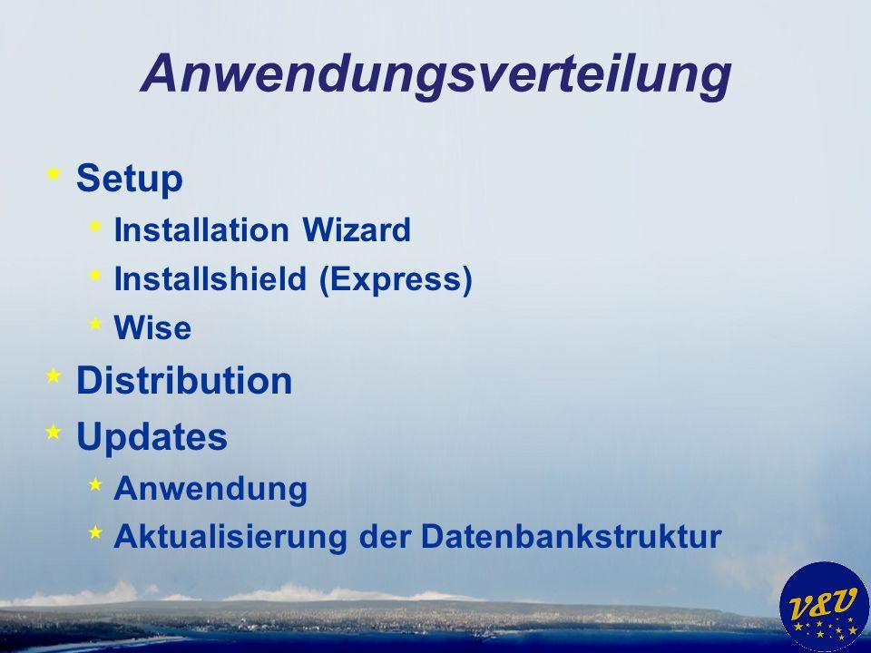 Anwendungsverteilung * Setup * Installation Wizard * Installshield (Express) * Wise * Distribution * Updates * Anwendung * Aktualisierung der Datenbankstruktur