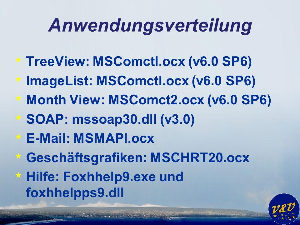 Anwendungsverteilung * TreeView: MSComctl.ocx (v6.0 SP6) * ImageList: MSComctl.ocx (v6.0 SP6) * Month View: MSComct2.ocx (v6.0 SP6) * SOAP: mssoap30.dll (v3.0) * E-Mail: MSMAPI.ocx * Geschäftsgrafiken: MSCHRT20.ocx * Hilfe: Foxhhelp9.exe und foxhhelpps9.dll