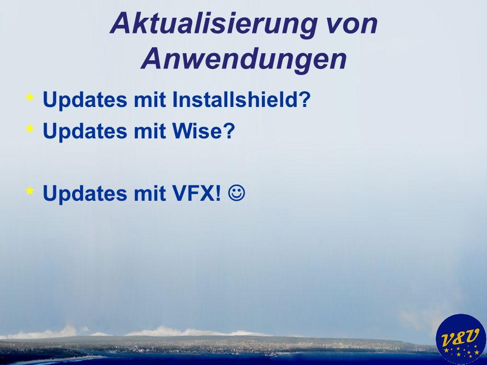 Aktualisierung von Anwendungen * Updates mit Installshield? * Updates mit Wise? * Updates mit VFX!