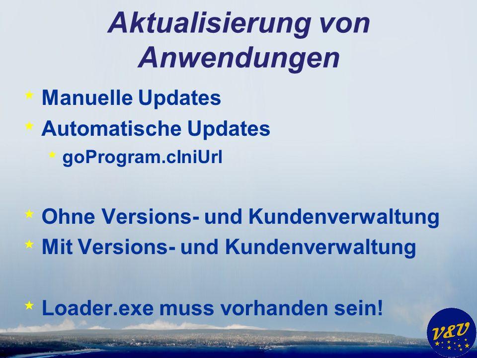 Aktualisierung von Anwendungen * Manuelle Updates * Automatische Updates * goProgram.cIniUrl * Ohne Versions- und Kundenverwaltung * Mit Versions- und Kundenverwaltung * Loader.exe muss vorhanden sein!