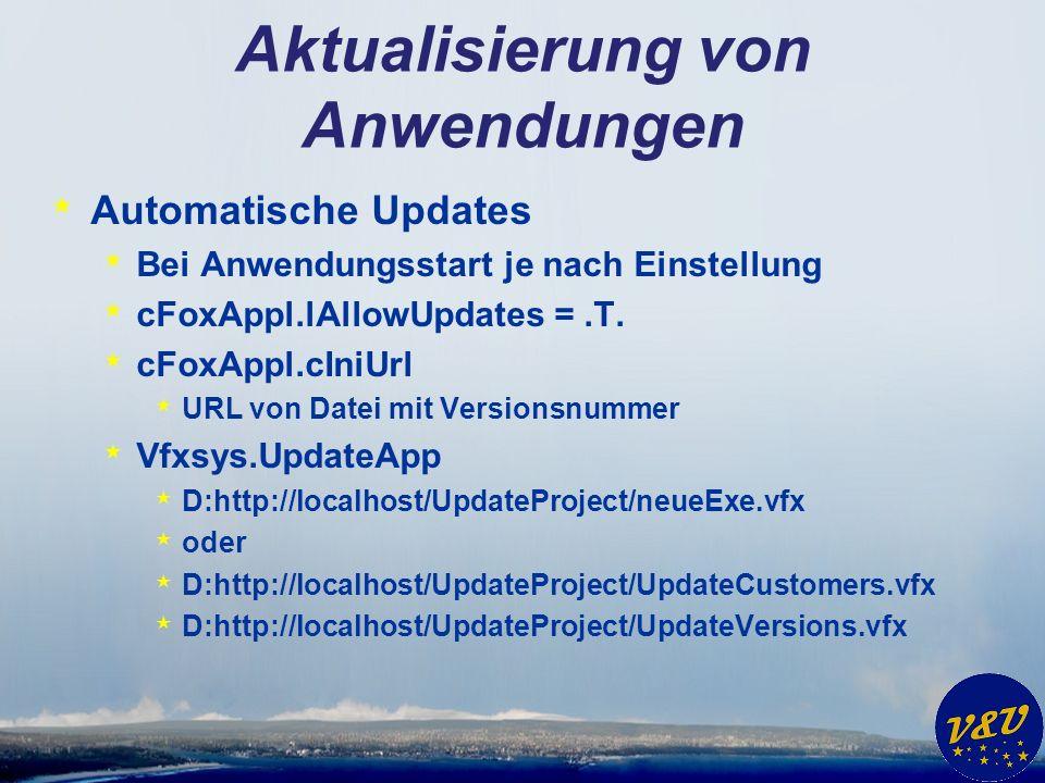 Aktualisierung von Anwendungen * Automatische Updates * Bei Anwendungsstart je nach Einstellung * cFoxAppl.lAllowUpdates =.T. * cFoxAppl.cIniUrl * URL
