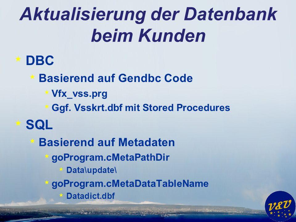 Aktualisierung der Datenbank beim Kunden * DBC * Basierend auf Gendbc Code * Vfx_vss.prg * Ggf. Vsskrt.dbf mit Stored Procedures * SQL * Basierend auf